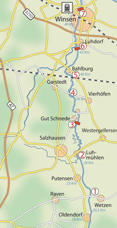 Karte Lüneburger Heide Und Umgebung.Kanutour Luhe Heidekanu Kanuverleih Kanutouren